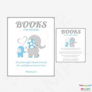 Elephant Baby Shower Boy, Books for Baby Insert, Blue and Gray Baby Shower Printables, Bring a book instead of a card Instant Download ELLBG