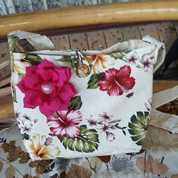 Hawaiian Print Shoulder handbag Handmade Handbag Bag medium tote bag One of a Kind