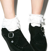 T.U.K. Black Suede Buckle Pointed Creepers