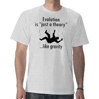Evolution Just a Theory, atheist men's t-shirt from Zazzle.com