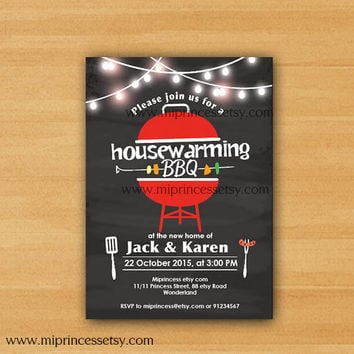 Housewarming Invitation New house Housewarming BBQ gathering party Invitation, chalkboard Backyard, Barbecue - card 625