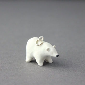 polar bear pendant polymer clay polar bear miniature figurine necklace keyring
