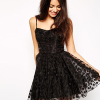 Black Polka-Dot Lace Spaghetti Strap Mini Dress