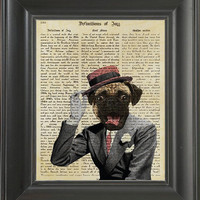Retro Dog from the 60's - Printed on Jazz page  -  250Gram paper.
