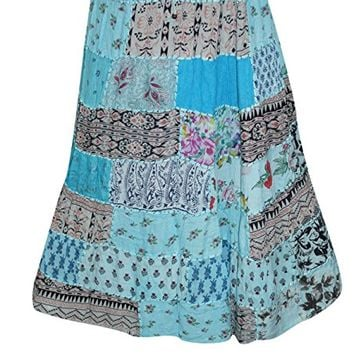 Womens Skirts Multicolored Vintage Patchwork Rayon Flirty Skirts L