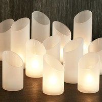 Slanted Oval Candle Holders - Set of 6