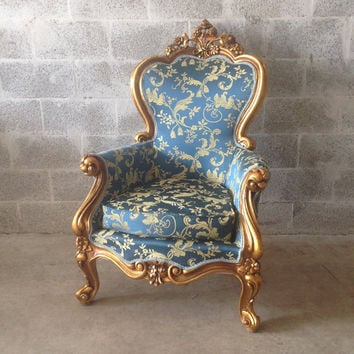 Baroque Chair Blue Damask Antique Italian *3 Chairs Left* Rococo French Louis XVI Wingback Bergere New Gold Leaf Gild Upholster Royal Blue