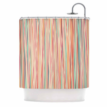 "Michelle Drew ""Stripy Wood Bark"" Coral Stripes Shower Curtain"