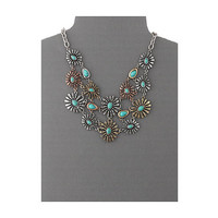M&F Western Mixed Metal Flower Bib Neckace/Earring Set Silver/Gold/Copper - Zappos.com Free Shipping BOTH Ways