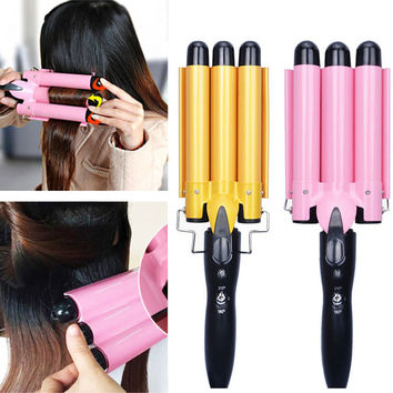 Ceramic Triple Barrel Hair Iron Curler Roller Wand Wave Curly Styling Tools