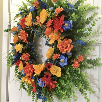 "Yellow Blue Orange 22"" Spring Summer Full Wreath Welcome Curb Appeal"