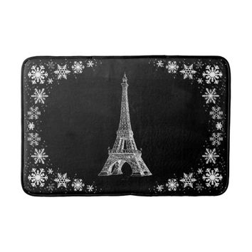 Paris Snow Black and White Bathmat Bath Mats