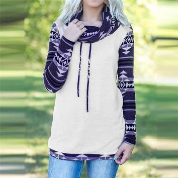 t shirt Women Aztec Cowl Neck tshirt Lady Long Sleeve T-shirt Sweatshirt Tops Pullover Offer Dropshipping #FG28