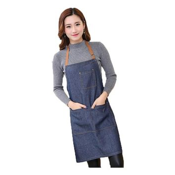 100% Cotton Hot Antifouling Aprons Unisex Uniform Denim Cowboy Simple Chef Cooking Kitchen Apron Aprons For Women Men