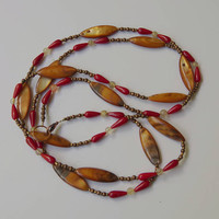 Brown and red marquise necklace Extra long double strand necklace Mother of pearl Special occasion jewelry OOAK unique handmade ALFAdesigns