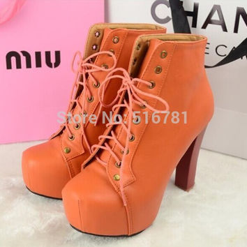 Free shipping 2015 women's boots Fashion Women winter Ladies 9 Color Lita platforms high heels Lace Up boots sexy Ankle shoes