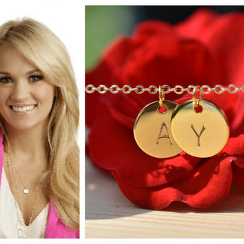 Personalized Gold Disc Necklace - Dainty 14K Gold Filled - Hand Stamped Couples Necklace - Gold Filled Initial Jewelry - Bridesmaid Gift