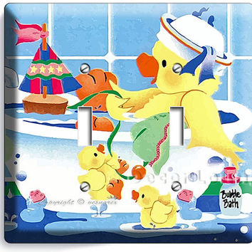 toy duckie and ducklings taking bubble bath play time rubber duck double light switch wall plate cover bathroom or laundry room art decor