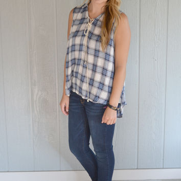 Cut it Out Plaid Sleeveless Top