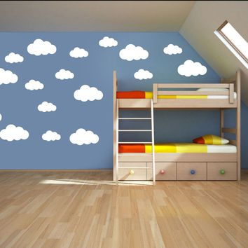 ZN G221 37pcs Clouds Children's Room / Quote Wall ART Sticke Baby room interior wall decoration