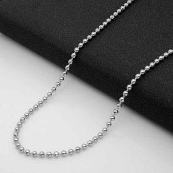 2mm  Stainless Steel Titanium Silver Color Ball Beads Necklaces Chains Men Women Jewelry Accessories Necklace 2017 Dropshipping