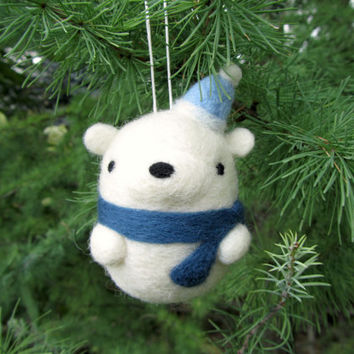 needle felted polar bear ornament felt polar bear christmas or - Bear Christmas Decorations