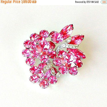 SALE Eisenberg Ice Pink Rhinestone Brooch 1950s Paved Ribbons of Ice