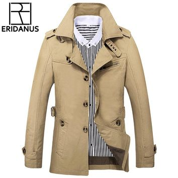 Jacket Men 2018 New Brand Wool Overcoat Thick Coats Casual Spring Outwear Military Jackets Man Cotton Mens Parka Plus Size X723