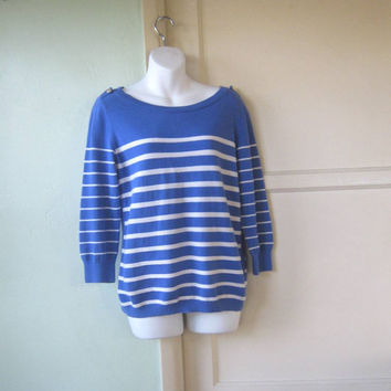 1980s Vintage Nautical Stripe French Blue Pullover; Medium-Large - Blue & White Sailor Stripe Sweater - Boatneck Blue Pullover/Jumper