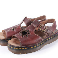 90s Vintage Dr Martens Platform Sandals Brown Leather Star Cut Out Chunky Hipster Grunge Made in England Shoes Womens Size US 9 UK 7 EUR 38