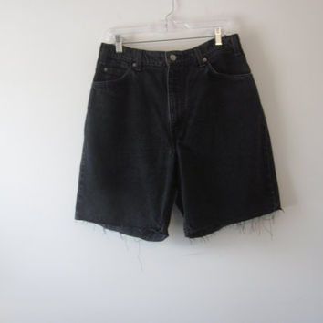 Black Grunge Denim Levi 550 Shorts Hipster Mens Cut Off Jean Shorts Levi Cutoffs Waist 36