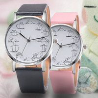 Women Quartz Watches - Faux Leather Band Watches - Meow - Fashion Cat Watch + Gift Box
