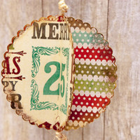 Christmas Ornament - Scalloped Paper Ball - Hand Made Holiday Tree Decoration Vintage Style Colors