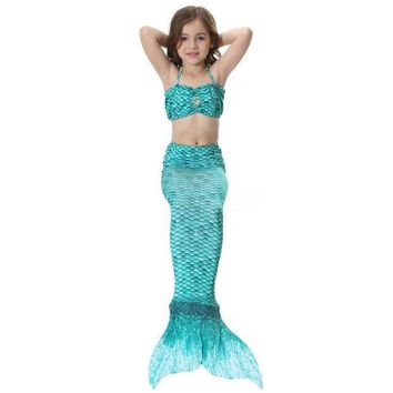 CREY6F Children Girl Adult Women Mermaid Tail Swimsuit with Monopalme Swimming Tail Swimwear Cosplay Costume