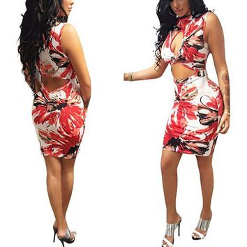 Streetstyle  Casual Multicolor Flowers Print Cut Out Band Collar Bodycon Homecoming Mini Dress