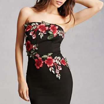 Embroidered Floral Tube Dress