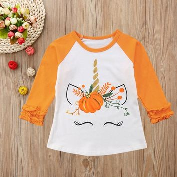 muqgew Toddler Baby Kids Girls Long Sleeve Animal Floral Tops T-Shirt Halloween Clothes Unicorn Pumpkin  blouse #4s