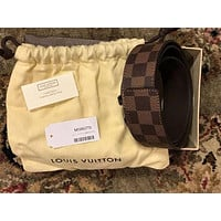 LOUIS VUITTON LV INITIALES DAMIER CANVAS BELT BROWN COLOR