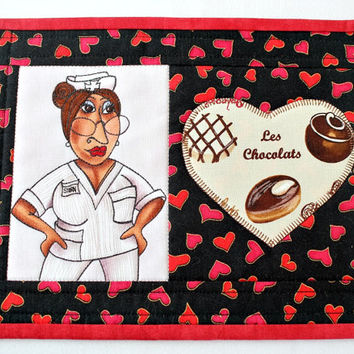 Nurse Mug Rug, Quilted Mug Rug, Medical Snack Mat, Black with Red Hearts, Gift for Nurse, Valentine Mug Rug, Quiltsy Handmade