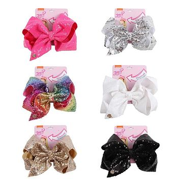"8"" Large Sequin JoJo Si Bow With Hair Clip For Girl Kids Handmade Bling Jumbo Rainbow Knot Hair Bow Hairgrips Hair Accessories"