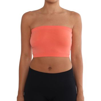 Women's Strapless/Seamless Tube Top Bandeau - Peach Coral