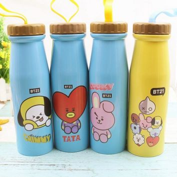 Kpop home for bt21 BTSbangtanboys around Q version cartoon  the same paragraph Trend double  stainless steel water cup bottles