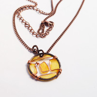 Gemini pendant resin necklace. Zodiac Jewelry . Wire wrapped. Gold yellow. Summer. Gifts for her. unique. handmade. dark copper.