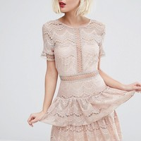 River Island Lace Tiered Dress at asos.com