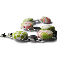 Fabric button bracelet Spring Beach bridesmaids bridal wedding shabby chic green pink orange polka dots Valentines Day gift for her