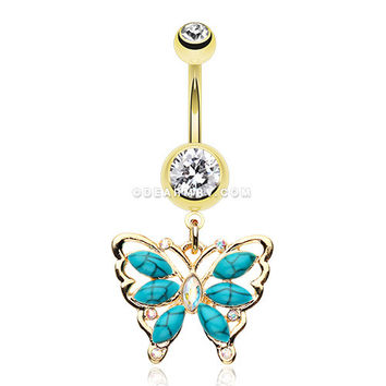 Golden Vintage Turquoise Butterfly Belly Button Ring (Clear/Turquoise)