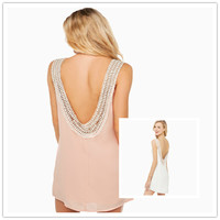 Round-neck Backless Cotton New Arrival Female Chiffon Lace One Piece Dress = 5826275585