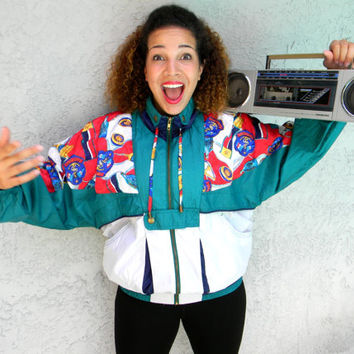 Vintage 90s Anchor Print Windbreaker Jacket - 90's Green and White Women's Track Suit Top, Womens Hip Hop Party Royal Navy Zip Up Bomber M L