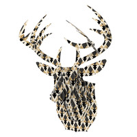 "Nika Martinez ""Glitter Triangles in Gold & Black"" Geometric Bucky Deer Bust Jr."