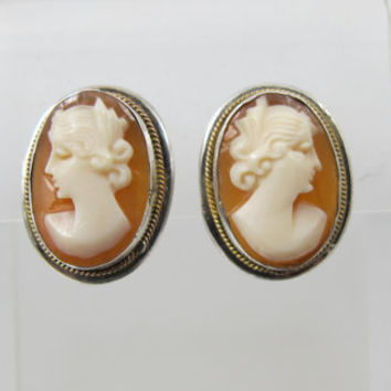 Art Deco Cameo Earrings, 800 Silver Screw Back Carved Shell Cameo, Vintage Bridal Wedding Cameo Jewelry